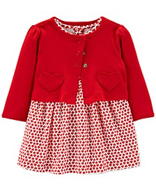 Baby Girls 2-Pc. Cotton Heart-Print Dress & Cardigan Set