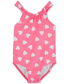 Baby Girls 1-Pc. Neon Heart-Print Swim Suit