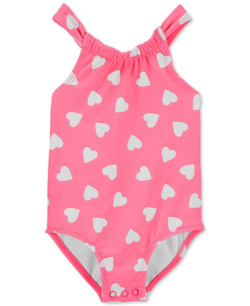 Carter's Baby Girls 1-Pc. Neon Heart-Print Swim Suit