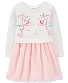 Toddler Girls Layered-Look Llama Dress