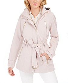 Petite Belted Hooded Raincoat