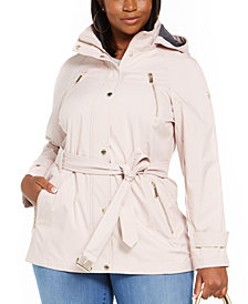Michael Michael Kors Plus Size Hooded Raincoat