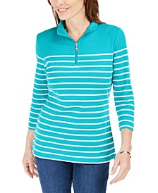 Striped Zip-Neck Top, In Regular and Petite, Created for Macy's