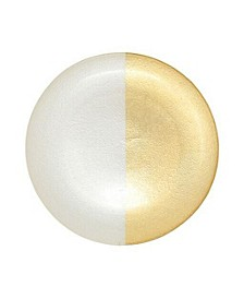 Two-Tone Glass White & Gold Dinner Plate
