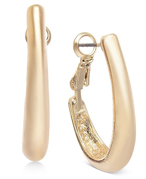 "Charter Club Gold-Tone Medium Tapered Hoop Earrings, 1.25"", Created For Macy's"
