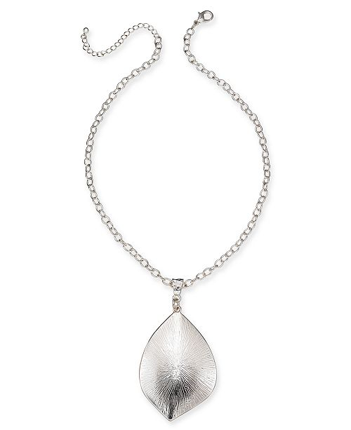 """Charter Club Silver-Tone Sculptural Disc Pendant Necklace, 18"""" + 3"""" extender, Created for Macy's"""