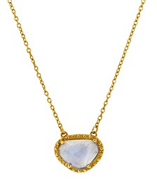 Organic Cut Moonstone and Diamond Necklace
