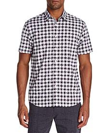 Men's Slim-Fit Performance Stretch Leopard Check Short Sleeve Shirt