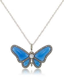 "Marcasite and Blue Agate & Blue Topaz (1/3 ct. t.w.) Butterfly Pendant+18"" Chain in Sterling Silver"