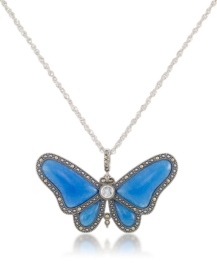 """Macy's - Marcasite and Blue Agate & Blue Topaz (1/3 ct. t.w.) Butterfly Pendant+18"""" Chain in Sterling Silver"""