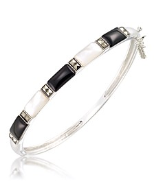 Marcasite and Onyx and Mother Of Pearl Bangle in Sterling Silver