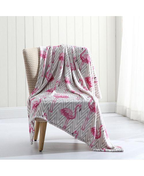 MHF Home Chevron Flamingo  Plush Throw Blanket