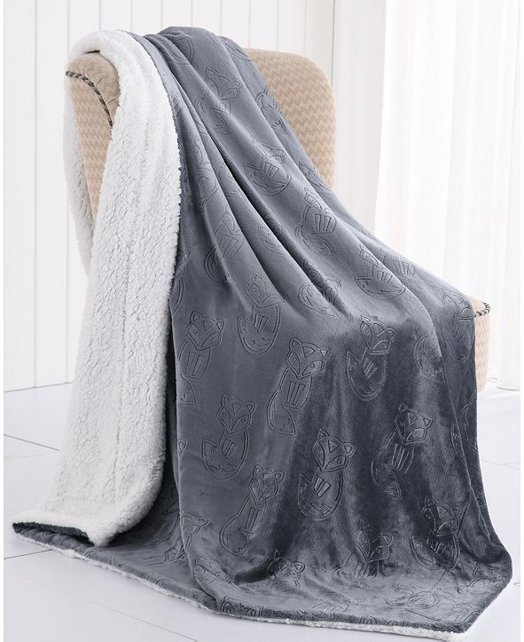 MHF Home Fred the Fox Velvet Plush and Sherpa Throw Blanket