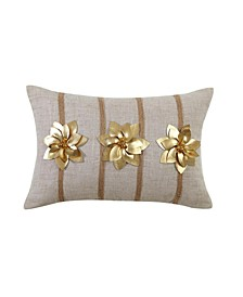 "Gold Poinsettia 12"" x 18"" Throw Pillow Cover"