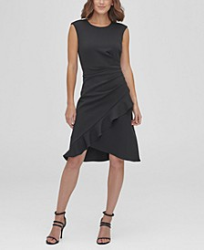 Side Ruche with Ruffle Drape Skirt A-Line Dress