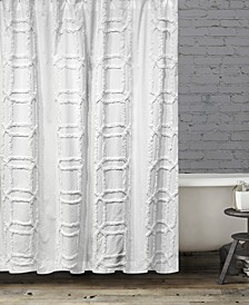 BCBG Clip Cube Tufted Shower Curtain