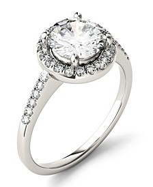 Moissanite Round Halo Ring 1-3/4 ct. t.w. Diamond Equivalent in 14k White Gold