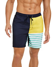 "Men's Striped Colorblocked 7"" Swim Trunks, Created for Macy's"