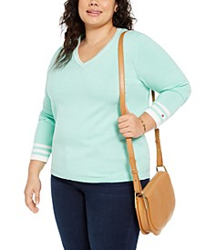 Plus Size Cotton V-Neck Pullover Sweater