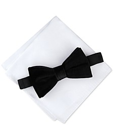 Men's Pre-Tied Velvet Bow Tie & Pocket Square Set, Created for Macy's