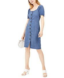 INC Puff-Sleeve Buttoned Dress, Created for Macy's