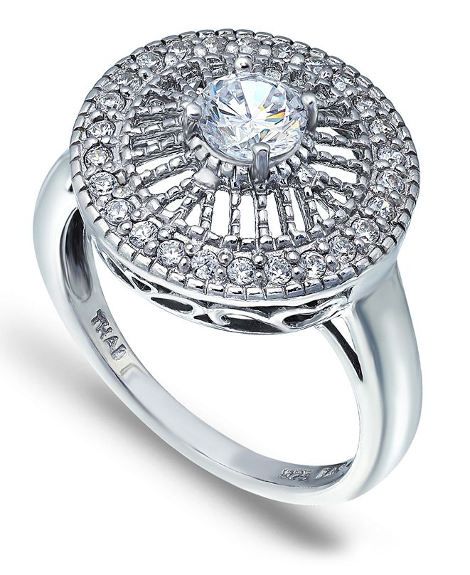 Macy's Cubic Zirconia Medallion Ring with Round Prong Center Stone in Fine Silver Plate