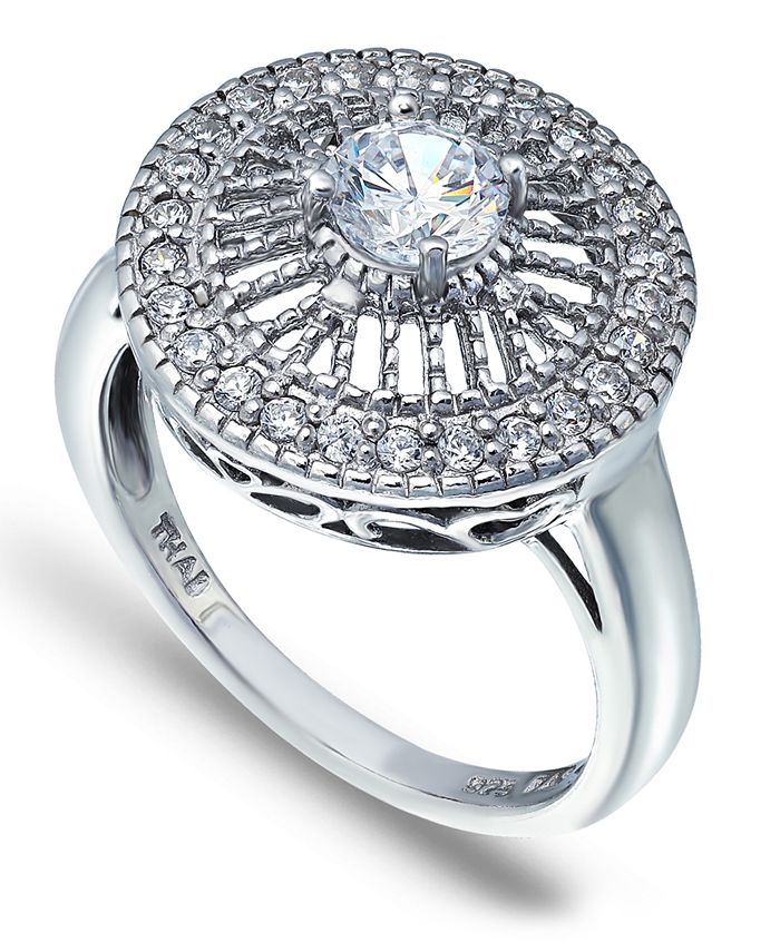 Macy's - Cubic Zirconia Medallion Ring with Round Prong Center Stone in Fine Silver Plate