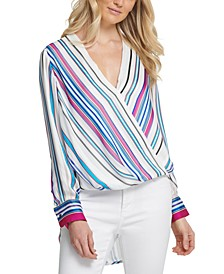Multistripe Surplice Top