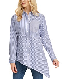 Asymmetrical-Hem Cotton Button Down Shirt