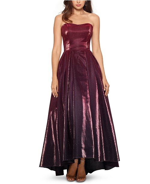 Betsy & Adam High-Low Glitter Ball Gown