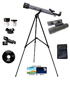 Day & Night Refractor Telescope Kit with Galileo 8x21mm Compact Binocular