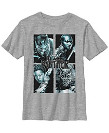 Marvel Big Boy's Black Panther Character Panels Short Sleeve T-Shirt