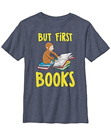 Curious George Big Boys Reading But First Books Short Sleeve T-Shirt