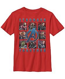 Marvel Big Boys Avengers Endgame Stronger Together Panel Short Sleeve T-Shirt