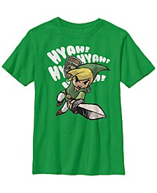 Nintendo Big Boy's Legend of Zelda Hyah Link Sword Swing Short Sleeve T-Shirt