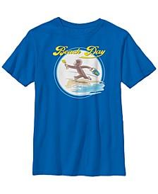 Curious George Big Boy's Beach Day Watercolor Short Sleeve T-Shirt