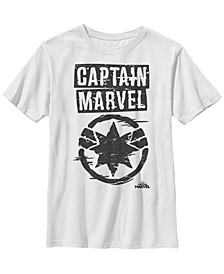 Marvel Big Boy's Captain Marvel Big Boy's Painted Circle Logo Short Sleeve T-Shirt