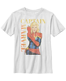 Marvel Big Boy's Captain Marvel Big Boy's Vintage-Like Cover Poster Style Short Sleeve T-Shirt