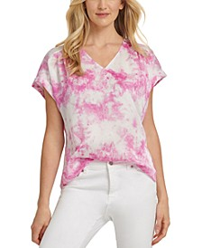 Tie-Dye-Print V-Neck Top