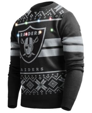 Men's Oakland Raiders Two Stripe Big Logo Lightup Sweater