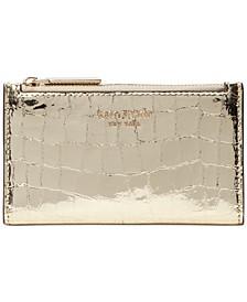 Sylvia Croc Embossed Slim Bifold Leather Wallet