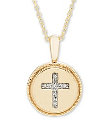 Diamond Accent Cross Pendant in 14K Yellow or Rose Gold