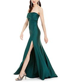 Juniors' Ruched Strapless Gown
