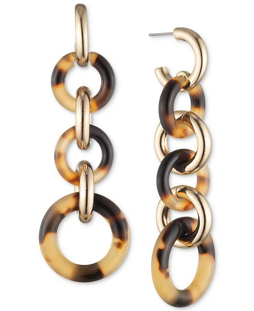 Lauren Ralph Lauren Gold-Tone & Tortoise-Look Circle Linear Drop Earrings