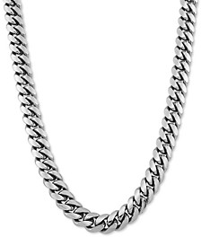"Cuban Link 26"" Chain Necklace in Sterling Silver"