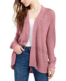 Hippie Rose Juniors' Textured Dolman-Sleeve Cardigan