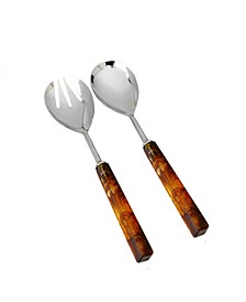 Set of 2 Stainless Steel Salad Servers with Square Print Acrylic Handles