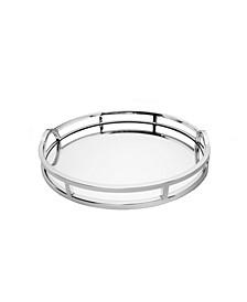 Round Mirror Tray with Modern Loop Design