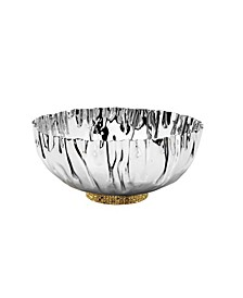 Stainless Steel Crumpled Bowl with Gold-Tone Mosaic Base