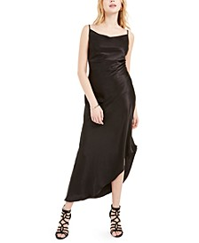 Asymmetrical Satin Maxi Dress